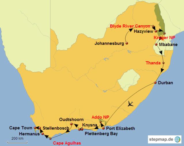 tour in Sudafrica